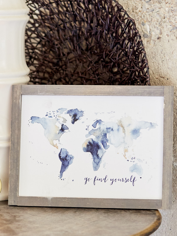 Go Find Yourself World Map Framed Wall Art